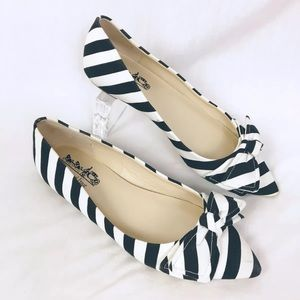 Coach and Four Striped Canvas Flats 7.5